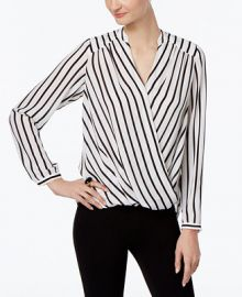 INC International Concepts Striped Wrap Blouse  Only at Macy s at Macys