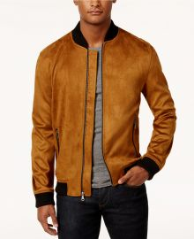 INC International Concepts Zander Faux Suede Bomber Jacket at Macys