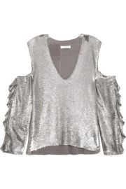IRO   Waleast cold-shoulder ruffled sequined tulle top at Net A Porter