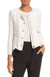 IRO Snap Front Crop Cotton Tweed Jacket at Nordstrom