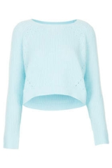 Ice Blue Knitted Curve Hem Crop Jumper at Topshop