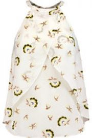 Iggy layered printed silk-crepe top at The Outnet