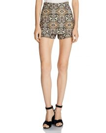 Ilio Front-Overlay Tapestry-Inspired Jacquard Mini Shorts by Maje at Bloomingdales