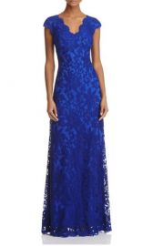 Illusion Lace Gown in Blue by Tadashi Shoji at Bloomingdales