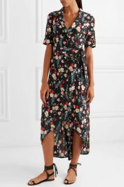 Imogene floral-print washed-silk wrap dress at Net a Porter
