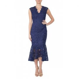 Indigo Guipure Lace Dress by Anthea Crawford at Anthea Crawford