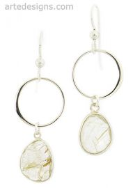 Infinity Golden Rutliated Quartz Earrings at Arte Designs