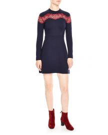 Inset-Lace Fit & Flare Dress at Bloomingdales