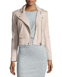 Iro Ashville Cropped Leather Jacket pink sand at Neiman Marcus