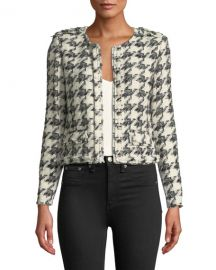 Iro Hope Strong-Shoulder Cropped Tweed Jacket at Neiman Marcus