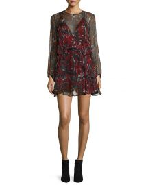 Iro Ressey Printed Chiffon Mini Dress  Red at Neiman Marcus
