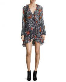 Iro Villia Printed Wrap Mini Dress w  Ruffled Trim at Neiman Marcus