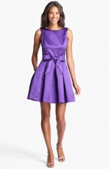 Isaac Mizrahi New York Mikado Fit andamp Flare Dress in purple at Nordstrom