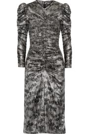 Isabel Marant   Damia ruched printed silk-blend lam   midi dress at Net A Porter