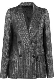 Isabel Marant   Denel double-breasted textured-lam   blazer at Net A Porter