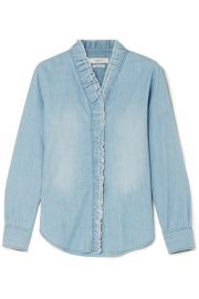 Isabel Marant   toile   Lawendy ruffled chambray blouse at Net A Porter