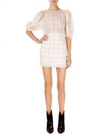 Isabel Marant Adelaide Short-Sleeve Checked Organza Mini Dress at Neiman Marcus