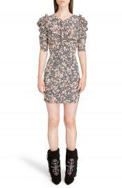 Isabel Marant Brizia Floral Print Stretch Silk Puff Sleeve Dress at Nordstrom