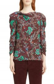 Isabel Marant Floral Print Ruched Sleeve Blouse at Nordstrom