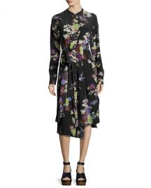Isabel Marant Iam Bouquet-Print Silk Dress  Black at Neiman Marcus