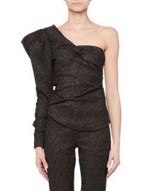 Isabel Marant One-Shoulder Volume-Sleeve Metallic Twist-Front Top at Neiman Marcus