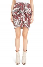 Isabel Marant Tilena Techno Paisley Ruched Skirt at Nordstrom