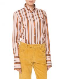 Isabel Marant Uliana Button-Front Long-Sleeve Striped Blouse at Neiman Marcus