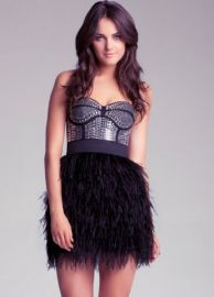 Isis Studded Feather Dress at Bebe