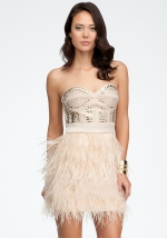 Isis feather dress at Bebe at Bebe