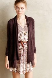Ismare Cabled Cardi in Dark Purple at Anthropologie