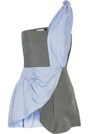 J W Anderson   One-shoulder striped crepe and silk-twill peplum top at Net A Porter