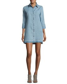 J Brand Bacall Chambray Tunic Shirtdress light blue at Neiman Marcus