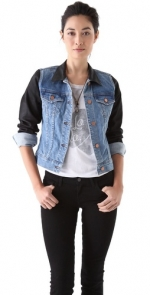 J Brand denim jacket with black sleeves at Shopbop