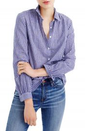 J Crew Gathered Gingham Popover Shirt  Regular   Petite at Nordstrom