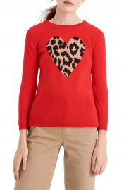 J Crew Leopard Heart Everyday Cashmere Sweater  Regular  amp  Plus Size at Nordstrom