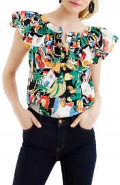 J Crew Postcard Print Ruffle Top  Regular   Petite at Nordstrom