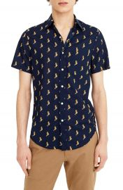 J Crew Slim Fit Secret Wash Short Sleeve Seahorse Print Sport Shirt at Nordstrom