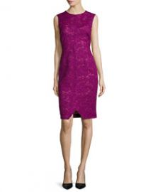 J Mendel Corded Floral Lace Sheath Dress at Neiman Marcus