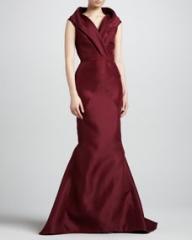 J Mendel Sleeveless Shawl-Collar Mermaid Gown Wine at Neiman Marcus