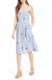 J O A  Embroidered Midi Dress at Nordstrom