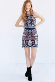 J O A  Embroidered Tank Dress blue at Urban Outfitters