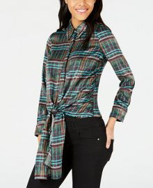 J O A  Printed Button-Down Tie-Front Shirt Juniors -  Tops - Macy s at Macys