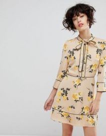 J O A Tea Dress With Neck Tie In Vintage Floral at asos com at Asos