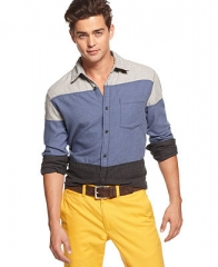 JACHS Shirt Long-Sleeve Colorblocked - Casual Button-Down Shirts - Men - Macys at Macys