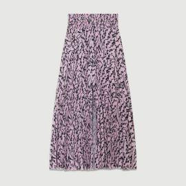 JAVINA Printed pleated skirt at Maje