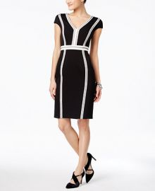 JAX Cap-Sleeve Seamed Sheath Dress at Macys
