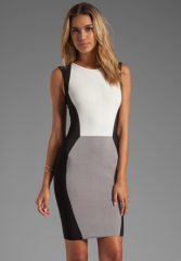 JAY GODFREY Sterling Colorblock Knit Sheath in GreyWhiteBlack at Revolve