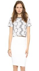 JOA Knit Jacquard Floral Tee at Shopbop