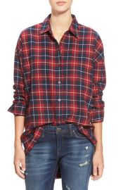 JOA Oversize Plaid Button Front Shirt at Nordstrom