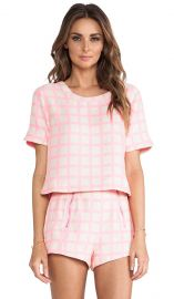 JOA Pink Checked Top in Neon Pink  REVOLVE at Revolve